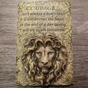 Courage Lion Inspirational Quote Wall Art